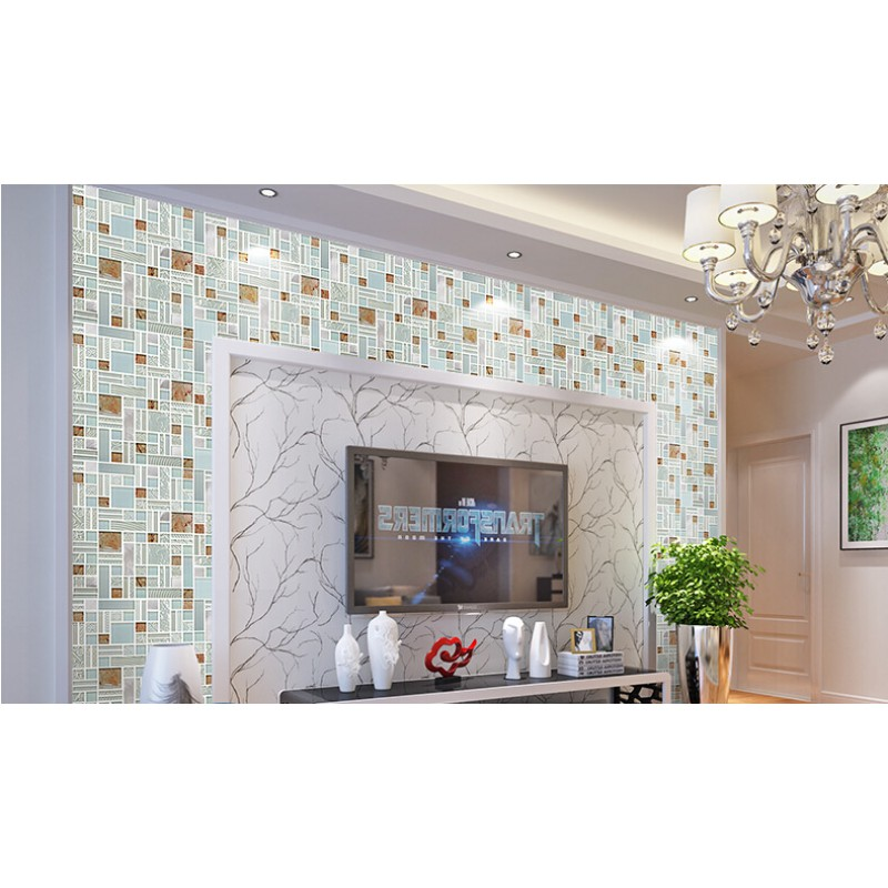 cream crystal glass mosaic tile 304 stainless steel metal tile kitchen wall backsplashes living room dinner - Metal Tile Living Room Decor