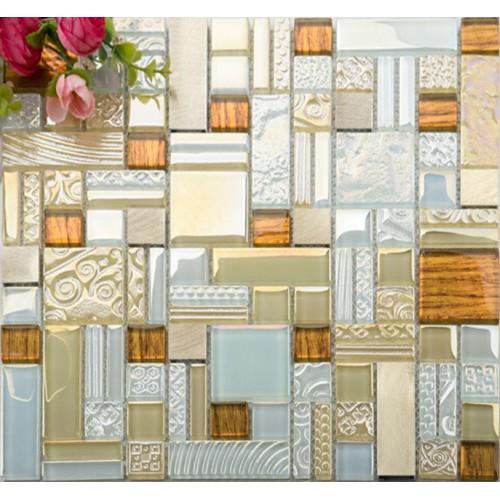 white crystal glass mosaic tile glass tile gold 304 stainless steel metal tile wall backsplashes kitchen living room new design KLGTH06