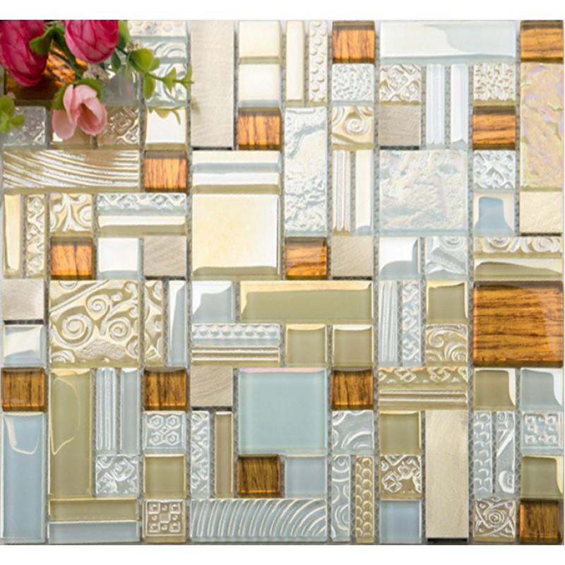 Deluxe Glass Metal Mosaic Sheets Brushed Aluminum Backsplash Blue And Golden Decorative Crystal Glass Tile For