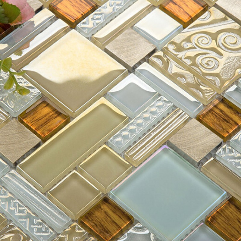 glass metal mosaic sheets brushed aluminum backsplash glass tile
