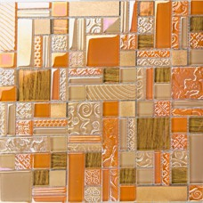 Deluxe glass metal mosaic sheets brushed aluminum backsplash yellow and orange decorative crystal glass tile for kitchen and bathroom MGJH07