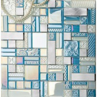 Deluxe glass metal mosaic sheets brushed aluminum backsplash blue and silver decorative crystal glass tile for kitchen and bathroom MGJH10