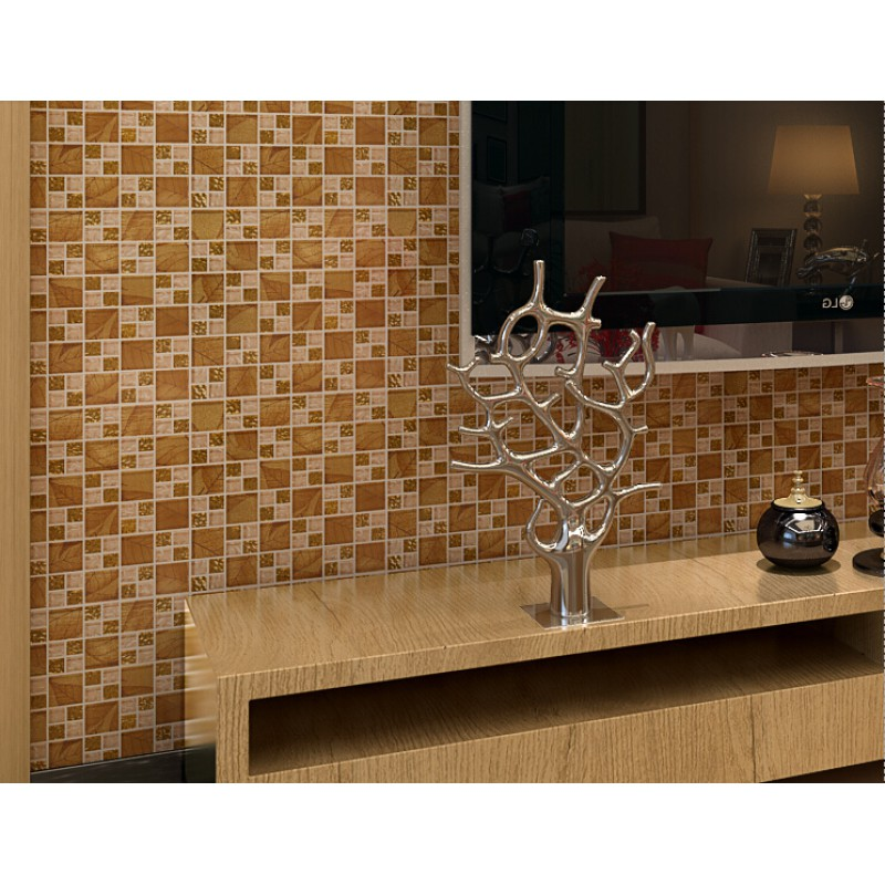 Gold tile backsplash ideas bathroom crystal glass mosaic Mosaic tile wall designs