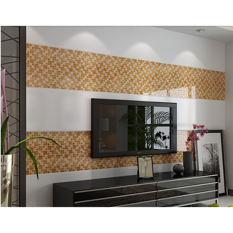 Delicieux ... Gold Tile Backsplash Ideas Bathroom Crystal Glass Mosaic Covering  Kitchen Living Room TV Wall Designs KLGT08