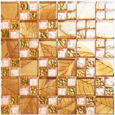 Gold tile backsplash ideas bathroom crystal glass mosaic covering kitchen living room TV wall designs KLGT08