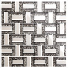 Silver 304 stainless steel backsplash TV backgroud wall deco kitchen backsplash ideas bathroom black crystal glass mosaic sheets KLGT4010
