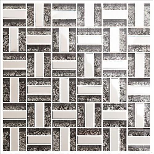 Silver 304 stainless steel backsplash TV backgroud wall deco kitchen backsplash ideas bathroom black crystal glass mosaic sheets KLGT4010