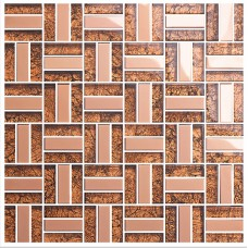 Brown crystal glass tiles for kitchen and bathroom metal tile mosaic sheets stainless steel backsplash wall tiles KLGT403