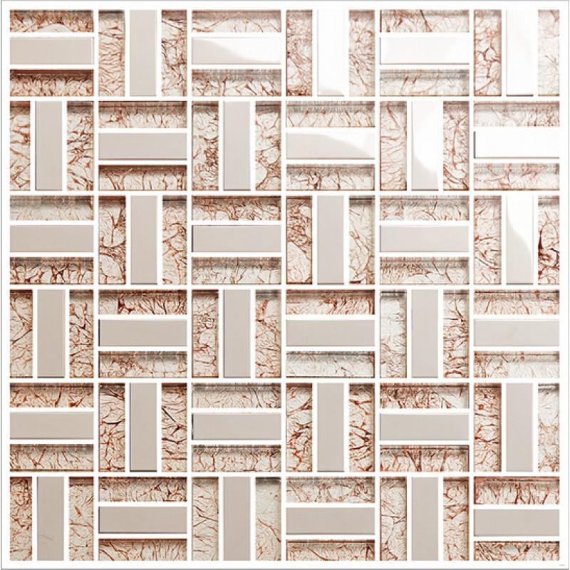 Cream Crystal Glass Tile Backsplash Ideas Bathroom Silver 304 ...