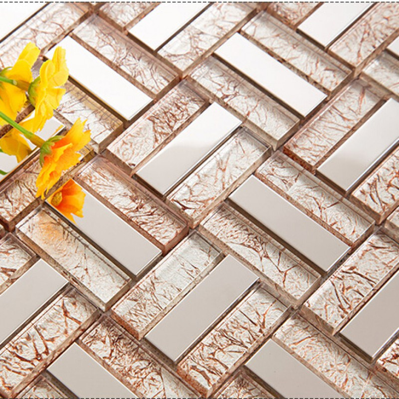 ... Cream crystal glass tile backsplash ideas bathroom silver 304 stainless  steel cheap tiles for kitchen bedroom ...