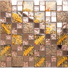 Glass and metal backsplash tiles for kitchen and bathroom bronze stainless steel tile gold mosaic glass shower wall ties design MGG106
