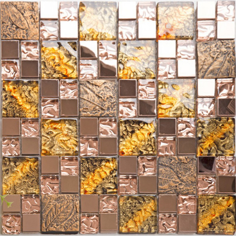 Glass And Metal Backsplash Tiles For Kitchen And Bathroom Bronze Stainless  Steel Tile Gold Mosaic Glass ...