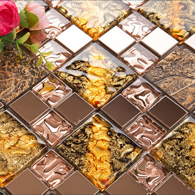 Gl And Metal Backsplash Tiles For Kitchen Bathroom Bronze Stainless Steel Tile Gold Mosaic