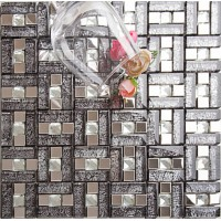 silver 304 stainless steel mosaic tile black crystal glass diamond glass mirror tile wall backsplashes kitchen decor decorative KLGT107