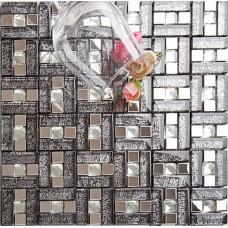 silver 304 stainless steel mosaic tile black crystal glass diamond glass mirror tile wall backsplashes kitchen decor decorative KLGT107