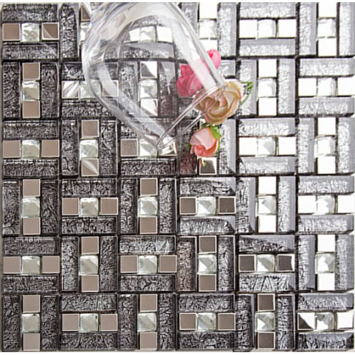 Kitchen Backsplash With Glass Tile Accents: Silver 304 Stainless Steel Mosaic Tile Black Crystal Glass