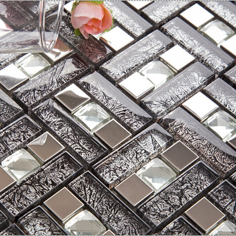 Silver 304 Stainless Steel Mosaic Tile Black Crystal Glass Diamond Mirror Wall Backsplashes Kitchen