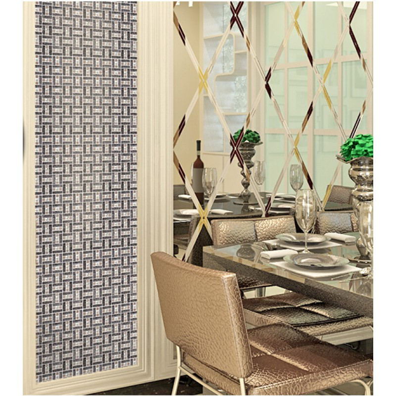 Silver 304 Stainless Steel Mosaic Tile Black Crystal Glass Diamond