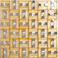 Stainless steel & glass blend metal tile sheets diamond glass mosaic tile gold kitchen backsplash metallic mosaic tiles bathroom MGG108