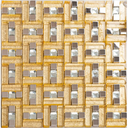 Gold 304 stainless steel mosaic tile yellow crystal glass - Decorative wall tiles for kitchen backsplash ...