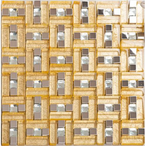 Stainless steel & glass blend metal tile sheets diamond glass mosaic tile gold kitchen backsplash metallic mosaic tiles bathroom MGG108