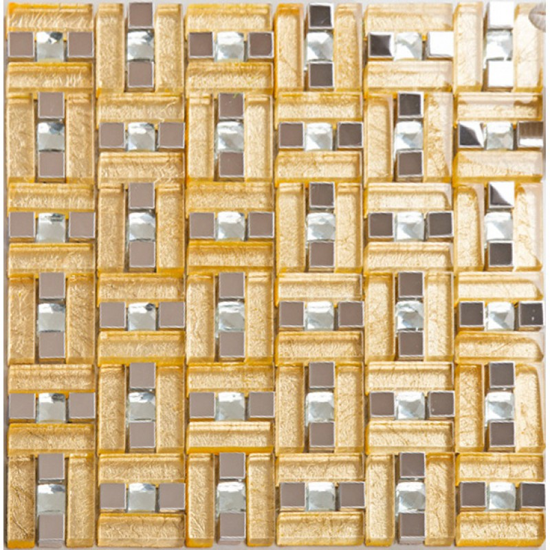 Gold 304 stainless steel mosaic tile yellow crystal glass for Yellow mosaic bathroom tiles