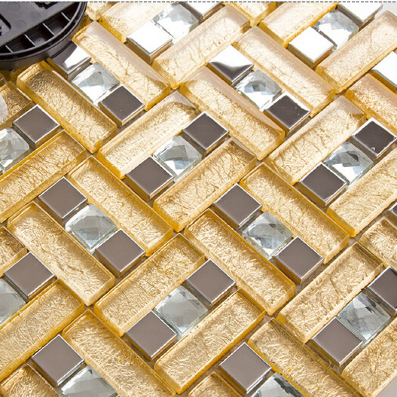 Gold 304 stainless steel mosaic tile yellow crystal glass for Mirror tiles