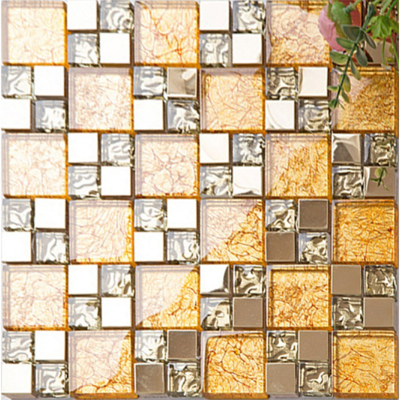 Gold crystal glass tile backsplash ideas kitchen and for Yellow mosaic bathroom tiles