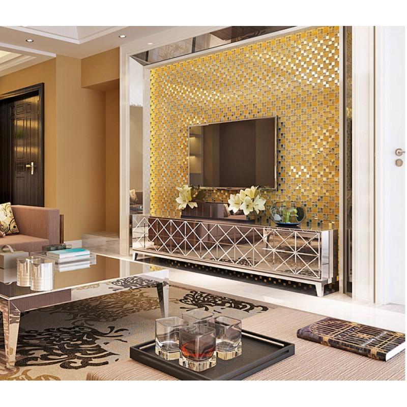 Glass Tile Backsplash Ideas: Gold Crystal Glass Tile Backsplash Ideas Kitchen And