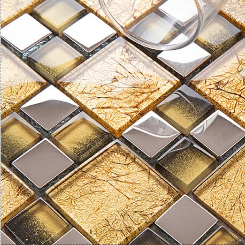 Gold Crystal Glass Tile Backsplash For TV Background Wall Decor ...