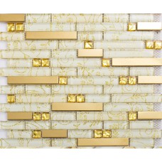 Strip crystal glass tile bathroom patterns interlocking gold stainless steel backsplash wall kitchen deco KLGTM05