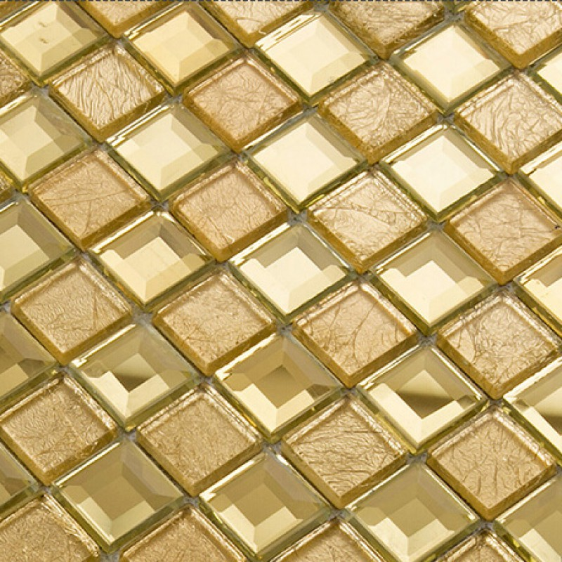 Gold Mirror Glass Diamond Crystal Tile Patterns Square Wall