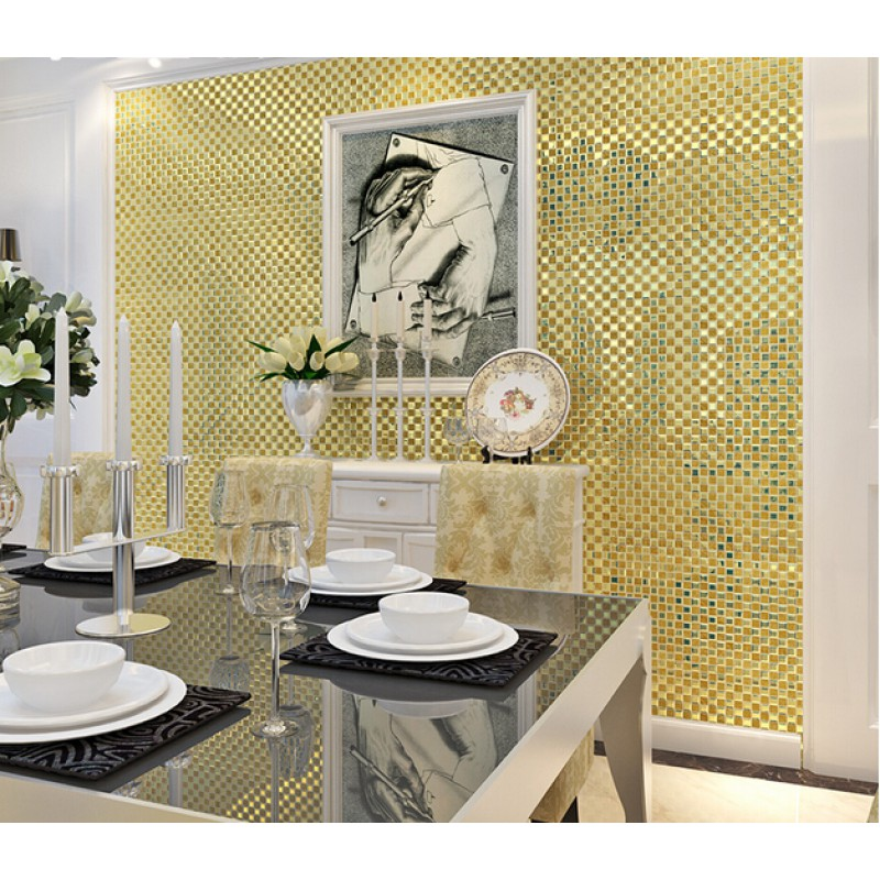 Fascinating 10 mirror tiles for wall decorating design of for Gold mosaic bathroom accessories