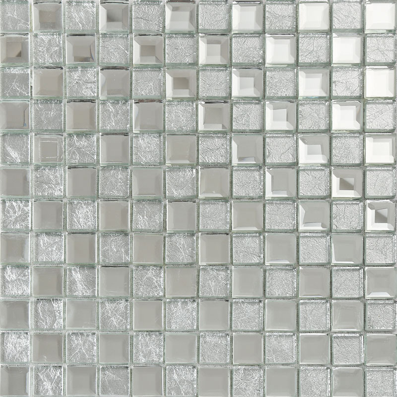 Glass Tiles In Bathroom: Silver Mirror Glass Diamond Crystal Tile Square Wall