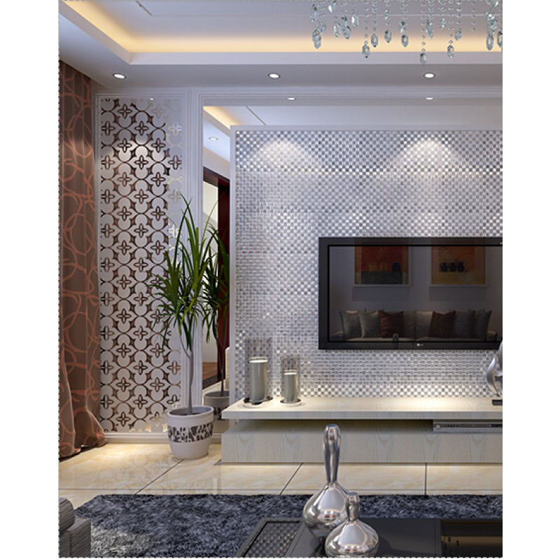 silver mirror glass diamond crystal tile square wall backsplash
