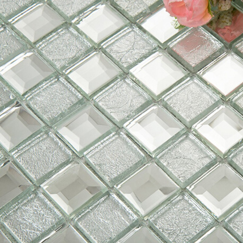 Silver Mirror Glass Diamond Crystal Tile Square Wall Backsplash Tiles Bathroom Washroom Mirrored Deco