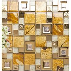 gold 304 stainless steel tile metal tiles yellow crystal glass mosaic tile wall backsplashes new design kitchen decorative tiles KLGTM68