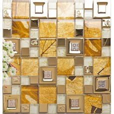gold 304 stainless steel tile metal tiles yellow crystal glass mosaic tile wall backsplashes new design kitchen decorative tiles KLGTM68