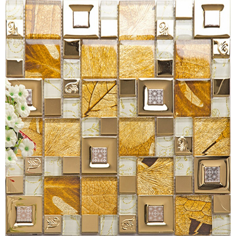 Kitchen Tiles Mosaic stainless steel glass tile mosaic sheets metal gold wall tiles for