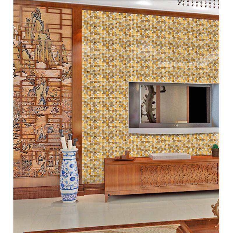 Yellow Mosaic Tile Backsplash: Gold 304 Stainless Steel Tile Metal Tiles Yellow Crystal