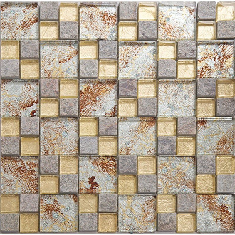 Natural stone mosaci tile wall art gold crystal glass for Stone wall art