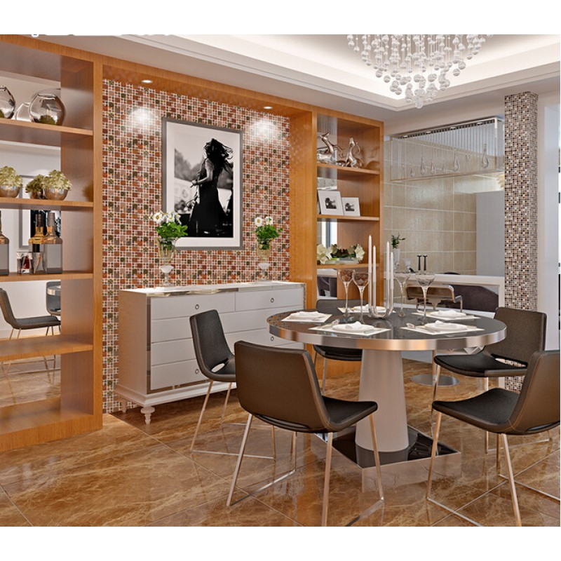 Stainless steel mosaic tile steel tiles backsplash with for Stainless steel sheets for kitchens
