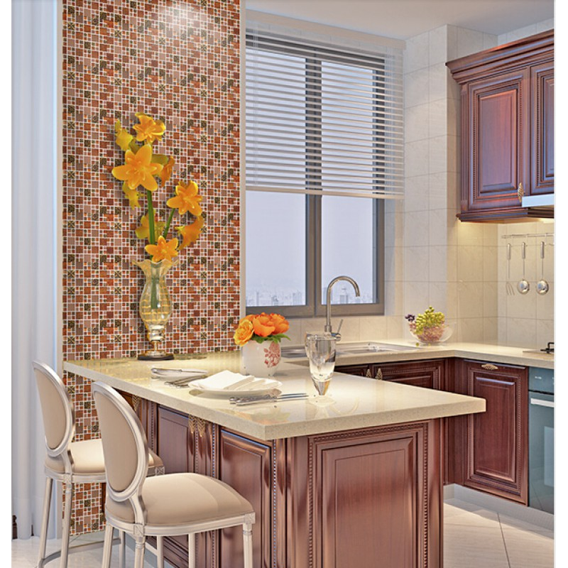 Stainless Steel Glass Tile Mosaic Sheets Metal Brown Wall Tiles For Kitchen And Bathroom Metallic Mosaic