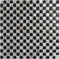 Black crystal glass tiles backsplash for kitchen and bathroom silver glossy glass mosaic tile wall shower designs KLZA13