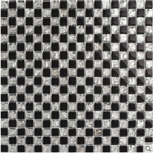 Black crystal glass tiles backsplash for kitchen and bathroom silver glossy glass mosaic tile wall shower designs KLZA13