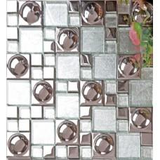 Silver plated porcelain mosaic tile white crystal glass mosaic kitchen mirror wall tile bathroom backsplash wall deco KLPT069