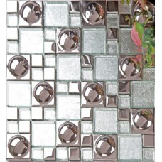 Silver plated porcelain mosaic tile white crystal glass mosaic kitchen mirror wall tile bathroom backsplash wall deco KLPT069