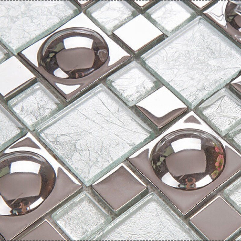 Silver Plated Porcelain Mosaic Tile White Crystal Glass Mosaic ...