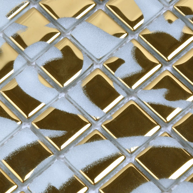 Gold glass tile murals wall stickers plated crystal for Bathroom mural tiles