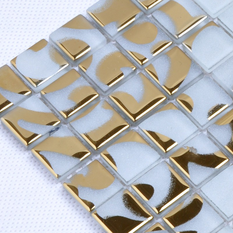 Gold glass tile murals wall stickers plated crystal backsplash ...